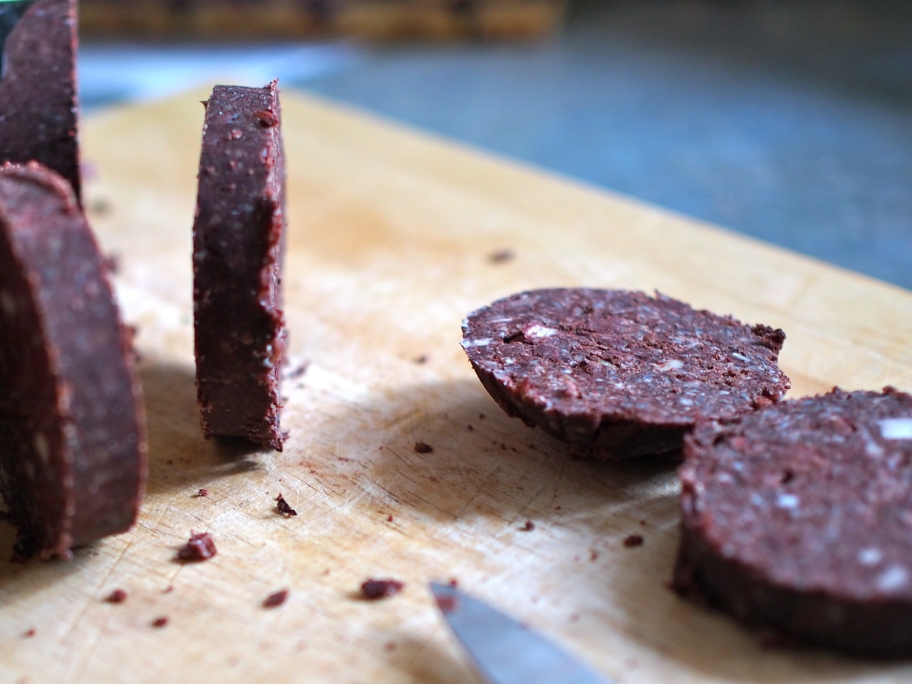 Slicing up black pudding
